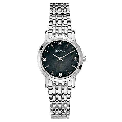 Bulova Diamond Black Dial - Bulova Women's 96P148 Diamond Gallery Analog Display Japanese Quartz White Watch, Silver