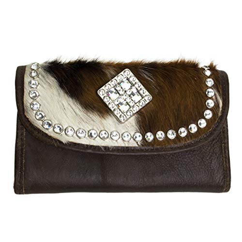 - Raviani Brown Leather & Hair on Brindle Cowhide Wallet W/Swarovski Crystals