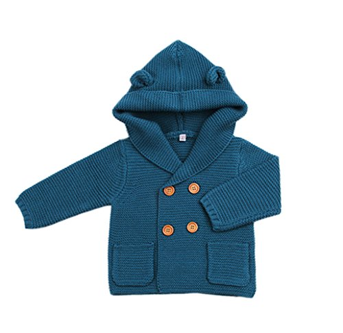 Unisex Baby Sweater Hoodies Toddlers Cute Knit Winter Ear Sweater Double-Breasted Blue (Double Breasted Knit Jacket)