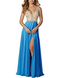 Womens Beaded Prom Dress Long V-Neck Formal Evening Party Gown with Slit