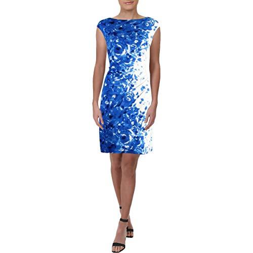 Lauren Ralph Lauren Women's Petite Novellina Florist Floral Dress Colonial Cream/Blue/Multi 6 Petite