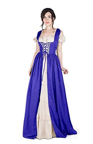 I Do Declare Renaissance Medieval Irish Costume Over Dress & Boho, Royal Blue, Size 2Xl/3Xl -