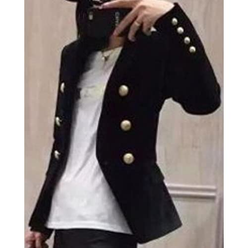 eee271bd2af WSPLYSPJY Women s New Slim Fit Velvet Double-Breasted Suit Blazers Black M  high-quality