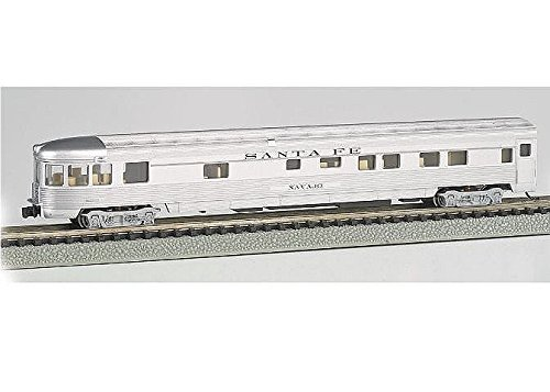(Bachmann Industries Streamline Fluted Observation Car with Lighted Interior - Santa FE (N Scale), 85')