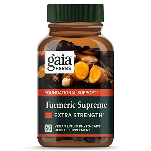Gaia Herbs Turmeric Supreme Extra Strength, Vegan Liquid Capsules, 60 Count - Turmeric Curcumin Supplement with Black Pepper for Daily Joint Support, Healthy Inflammatory Response and Overall Vitality