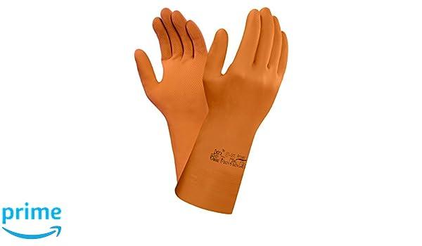 Naranja Protecci/ón contra productos qu/ímicos y l/íquidos bolsa de 12 pares Tama/ño 7.5-8 Ansell 87-955//7.5-8 Extra Caucho natural guante
