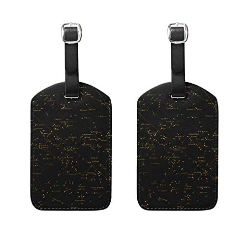Set of 2 Luggage Tags World Map Constellation Suitcase Labels Travel Accessories