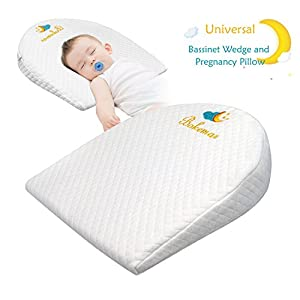 UniversalBassinet Wedge Pillow for Acid Reflux & Nasal Congestion Relief with Cotton & Waterproof CoversBaby Sleep Positioner for Under The Mattress12-Degree