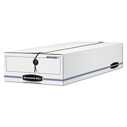 Bankers Box® - Liberty Storage Box, Check/Voucher, 9-1/2 x 23-1/4 x 4-1/4, WE/Blue, 12/Carton - Sold As 1 Carton - String & button secure closure—keeps checks and forms in place, even if box is overturned.