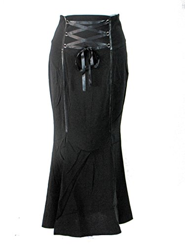 Plus Size Black Gothic Vampire Mermaid Corset Waist Long High Slit Skirt (1X)