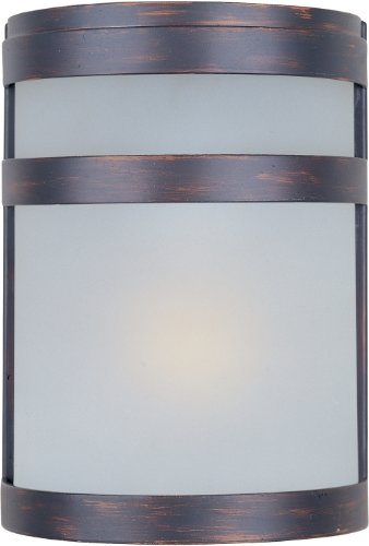 Maxim 86005FTOI Arc EE 1-Light Outdoor Wall Sconce Lantern, Oil Rubbed Bronze Finish, Frosted Glass, GU24 Fluorescent Fluorescent Bulb , 60W Max., Dry Safety Rating, 2700K Color Temp, Standard Dimmable, Glass Shade Material, 1344 Rated Lumens
