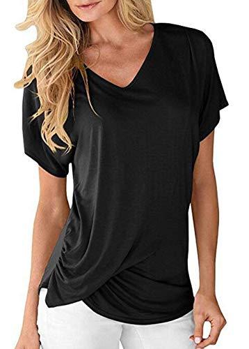 Shirts Shirt Vetement HX Tshirt Femme Schwarz Branch Mode fashion lgant Basic Casual V Manches Manche Plier T Et Cou Haut Uni Confortable Courtes RawqgR1