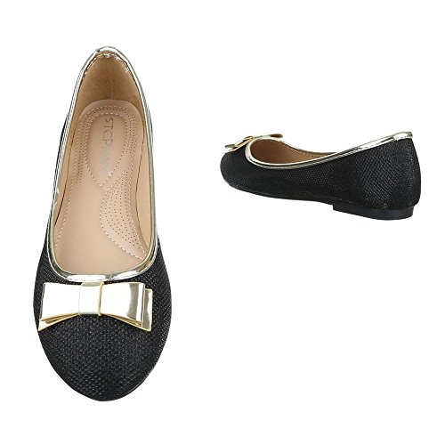 Ital-Design Ballerinas Damen Schuhe Geschlossen Blockabsatz Moderne Ballerinas Schwarz