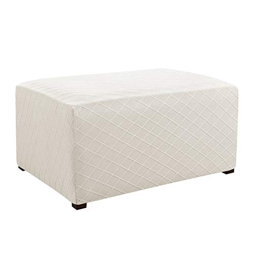 CHUN YI Stretch Rhombus Jacquard Universal Ottoman Cover,Easy Fitted Oversized Storage Ottoman Covers Slipcover,High Elasticity Furniture Protector (Oversize, Cream White) (Cover Ikea Bench)