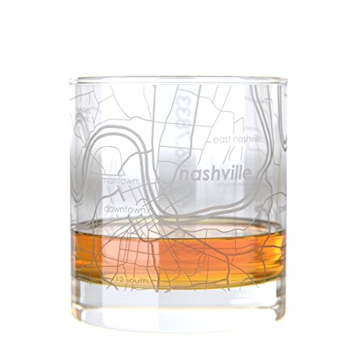 Uncommon Green Nashville Map Rocks Etched Whiskey Glass ()