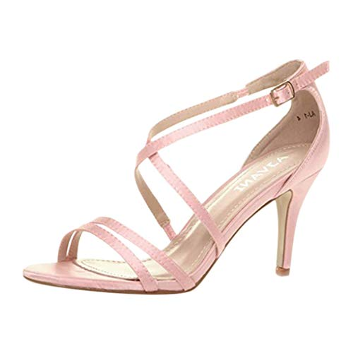 Sandals for Womens with Heeled,Ladies Thin Heel Strappy Party Wedding Prom Sandals Ankle Buckle Shoes Pointed Toe Shoe Pink (Diesel Buckle Closure Belt)