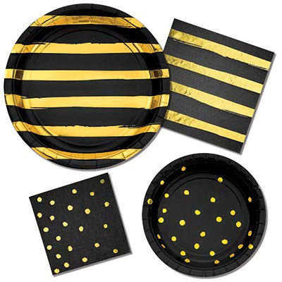 - Olive Occasions Black and Gold Disposable Party Supplies 16 Dinner Plates, 16 Dessert Plates, 16 Lunch Napkins, 16 Beverage Napkins