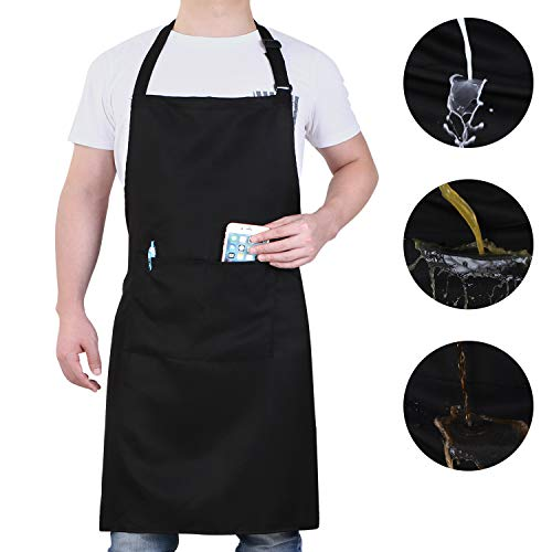 Will Well Adjustable Bib Aprons, Water Oil Stain Resistant Black Chef Cooking Kitchen Aprons with Pockets for Men Women… 1