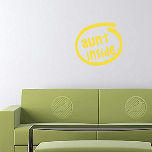Aunt Inside Decal Sticker (Yellow, 12 inch) for Indoor Wall Home b11429