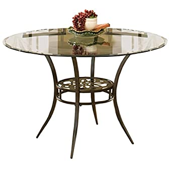 "Hillsdale Marsala 48"" Round Dining Table, Gray Finish with Rubbed Brown Accents"
