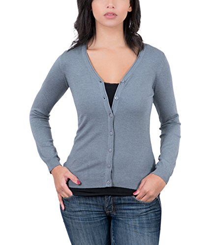 - RC Cashmere Blend Grey Womens V-Neck Cardigan for Womens