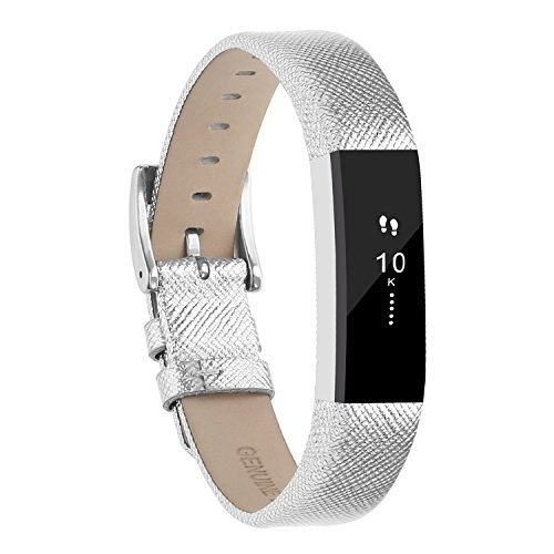 Buckle Leather Wristband (Adepoy Fitbit Alta Bands and Alta HR Bands, Leather Replacement Wrist Bands for Fitbit Alta HR and Fitbit Alta Silver)