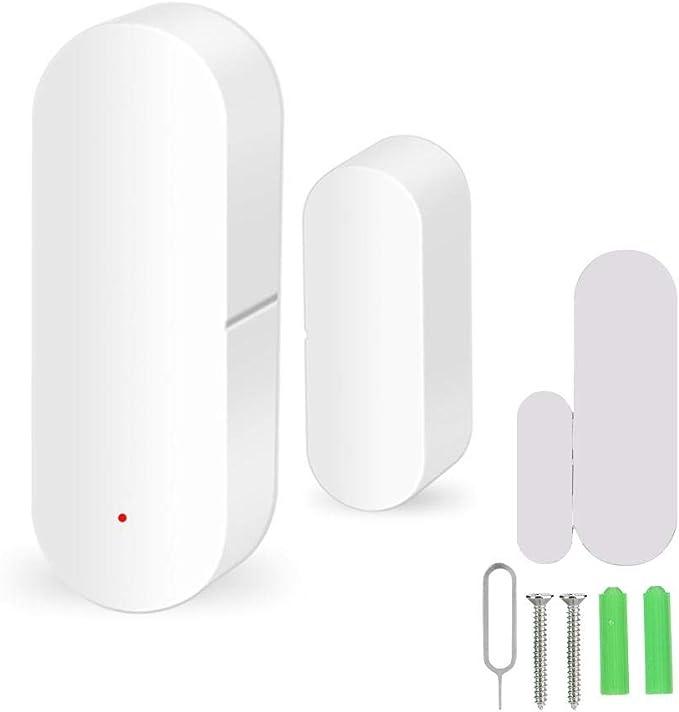 Festnight WiFi Sensor de la Puerta Tuya App Control Puerta de la Ventana de Apertura Seguridad Alarma Sensor Interruptor magn/ético Detector inal/ámbrico Compatible con Alexa Google Home IFTTT