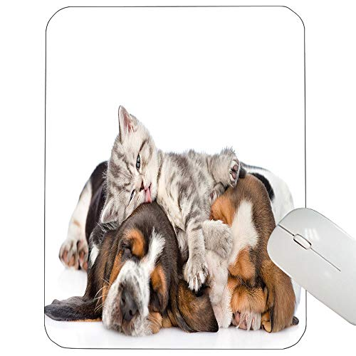 Funny Support Mouse pad Newborn Kitten Lying on The Puppies Basset Hound and Licks Sleeping Cuddle Picture Gaming Mouse pad Multicolor 12