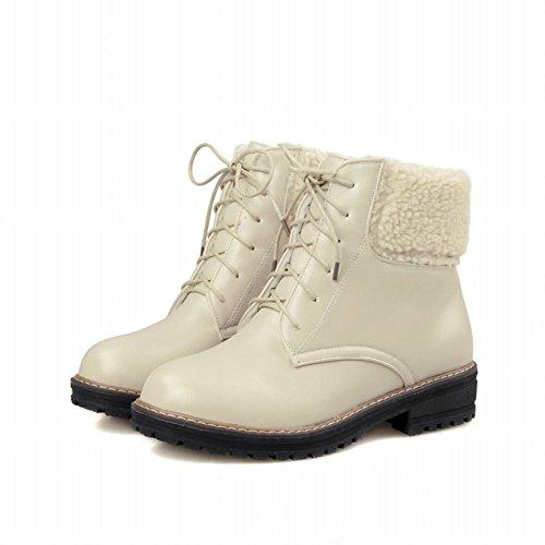 Carolbar Donna Allacciate Eco-pelliccia Caldo Inverno Comfort Tacco Basso Stivali Da Neve Corta Beige