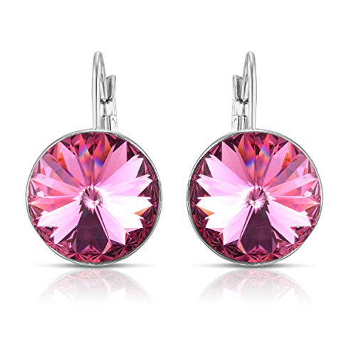 - Unique Royal Jewelry Swarovski Crystal Bella French Wire Clip Pierced Post Drop Designer Earrings. (Fuchsia Pink)