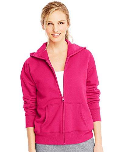 (Hanes Women's Full-Zip Hooded Jacket, Sizzling Pink Heather, Medium)