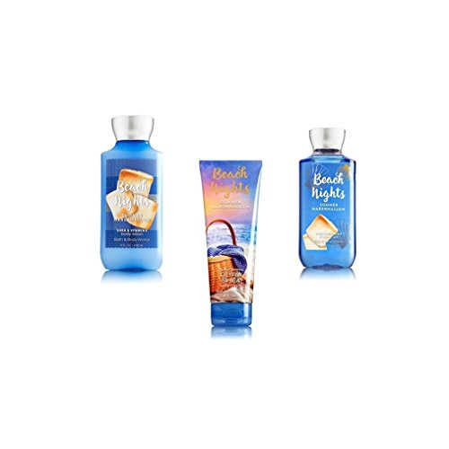 Bundle Pack Bath Body Works BEACH NIGHTS - SUMMER MARSHMALLOW Body Lotion, Body Cream & Shower Gel TRIO Pack