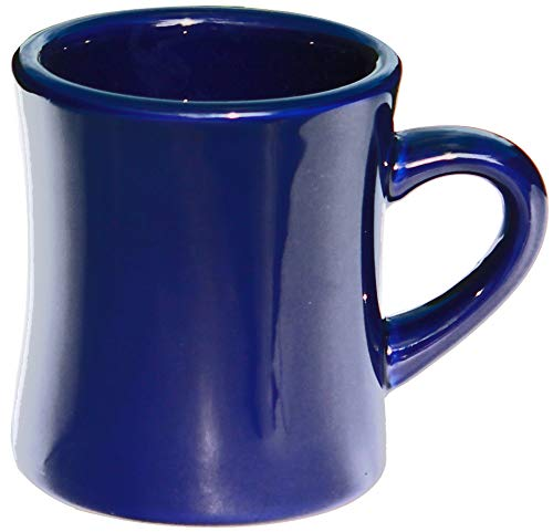 ITI Heavy Restaurant Ceramic Diner Coffee Mugs with Pan Scraper, 10 Ounce, 6-Pack, Cobalt ()