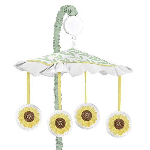 Sweet Jojo Designs Girl Baby Nursery Musical Crib Mobile, Farmhouse Watercolor Flower, Yellow/Green and White Sunflower Boho Floral