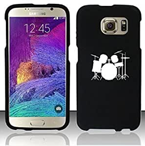 Samsung Galaxy S6 Edge Snap On 2 Piece Rubber Hard Case Cover Drum Set (Black)