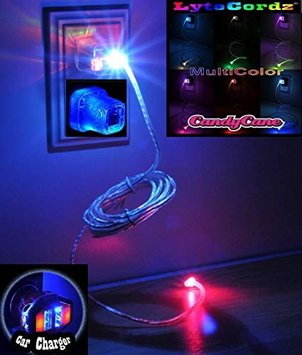 LYTECORDZ Light Up Glowing LED Phone Charging Charger Cable USB Cord Compatible with iPhone 5 6 7 8 X Android Micro Type C with LED Car and Wall Plug (Multicolor (Purple) 6 Feet, Android/Micro)