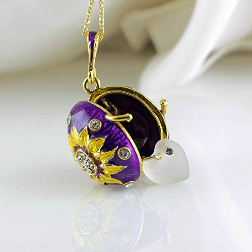 (Locket Sunflower w Crystal Heart Purple Pendant w Yellow Blossom Jewelry Necklace Gold Vermeil Sterling Silver Enamel Jewelry Egg Necklace Gift for Her)