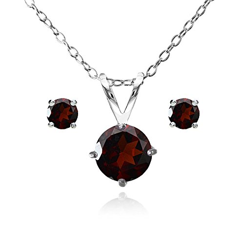 (Sterling Silver Garnet Round Solitaire Necklace and Stud Earrings)