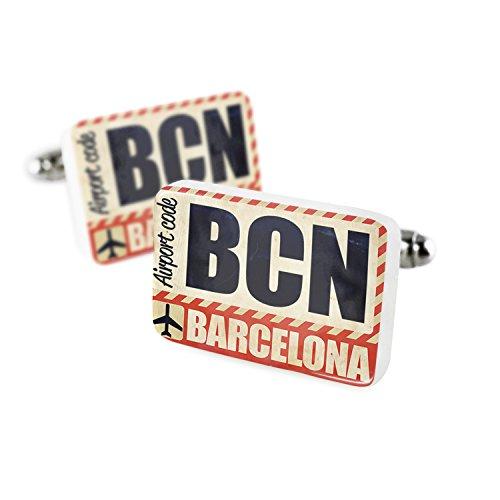 NEONBLOND Cufflinks Airportcode BCN Barcelona Porcelain Ceramic