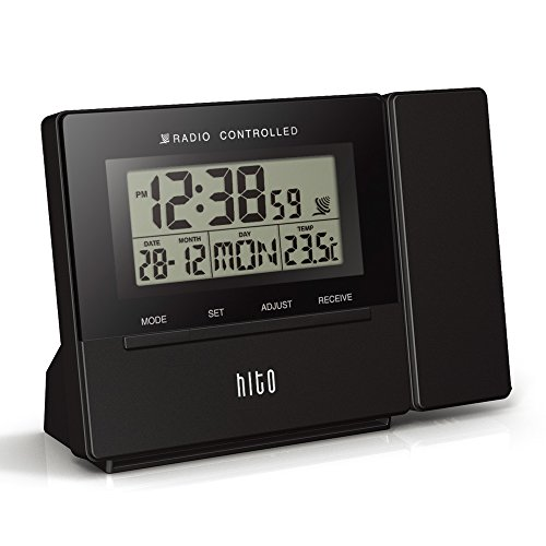 33 hito atomic radio controlled projection alarm clock date temperature week alarm. Black Bedroom Furniture Sets. Home Design Ideas