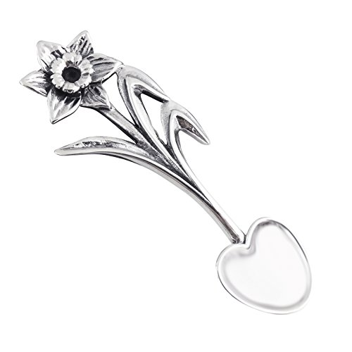 Sterling Silver Daffodil Flower Salt Spoon or Mustard (Sterling Silver Salt Spoon)
