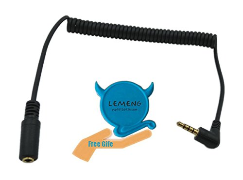 Lemeng 90 Degree Right Angle 3.5mm Male To female Jack 4 Pole Extension Aux Audio Coiled Spiral Cable(Black)