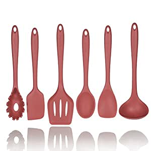 5+1 Piece Silicone Spatula Set in Red with Bonus Pasta Spoon by Polar Pantry - Spatula, Spoonula, Turner, Scraper and Ladle