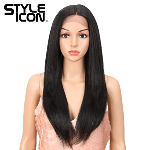- Style Icon Lace Front Wigs Ombre Lace Wigs Long Straight Wigs Synthetic Wigs with Baby Hair Half Hand Tied Black Ombre Blonde Dark Brown 130% Density Wigs (26