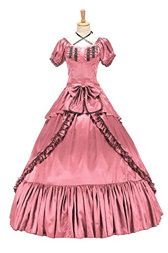 XOMO Victorian Southern Belle Gothic Dress Ball Gown Halloween Prom Lolita Costume Pink S