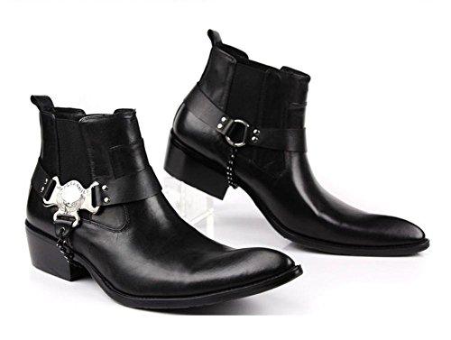 Stivali Scarpe 43 BLACK appuntito Marrone Inverno Pelle Uomini brown Britannico Oxford 37 Dimensione Classico Grande Autunno Nero Locomotiva Parrucchiere Vero XIE Nozze wIYCqH