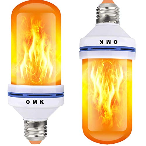 OMK - LED Flame Effect Fire Light Bulbs - Newest Upgraded 4 Modes Orange Flickering Fire Simulated Lamps - E26 Base LED Bulb - 6W Energy Efficient Fire Lights for Indoor/Outdoor Decoration (2 Pack)