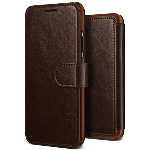 iPhone XR Case, VRS Design [Brown] Drop Protection Cover Classy Slim Premium PU Leather Wallet [Layered Dandy] ID Credit Card Slot Holder Compatible with Apple iPhone XR 6.1 inch (2018) (Slim Pu Design Leather)