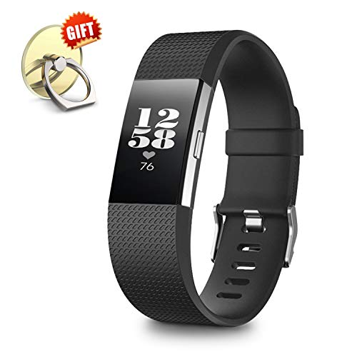 IYOU Compatible for Fitbit Charge 2 Replacement Bands, Classic Edition Adjustable Silicone Sport Wristbands Fitbit Charge 2 Bands for Women and Men, Black, Large,【Gift】 1X Finger Ring Stand