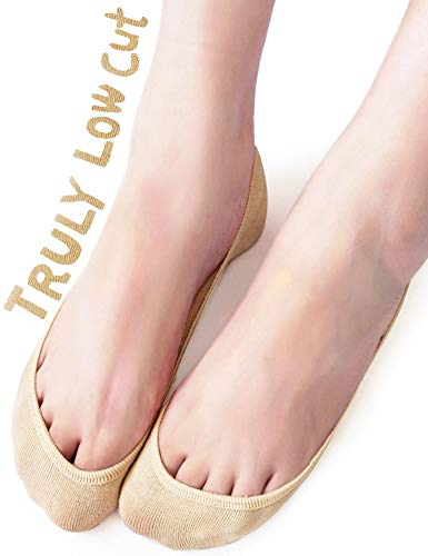 Show Footies - VERO MONTE 4 Pairs Womens TRULY No Show Socks (Grey + Nude, 7.5-9) -Boat Socks